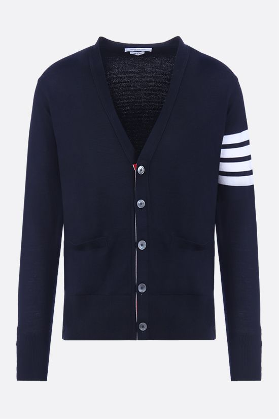THOM BROWNE: 4-bar detailed wool cardigan Color Blue_1