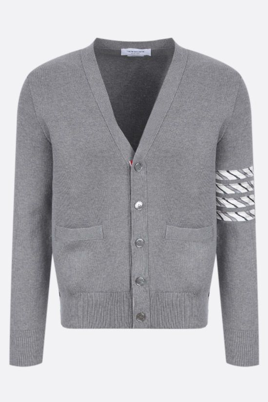 THOM BROWNE: 4-bar detailed cotton cardigan Color Grey_1