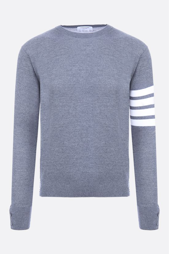 THOM BROWNE: 4-bar detailed cotton sweatshirt Color Grey_1