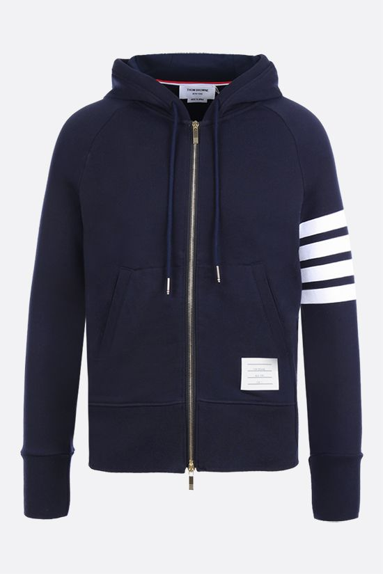 THOM BROWNE: 4-bar-detailed cotton full-zip hoodie Color Blue_1