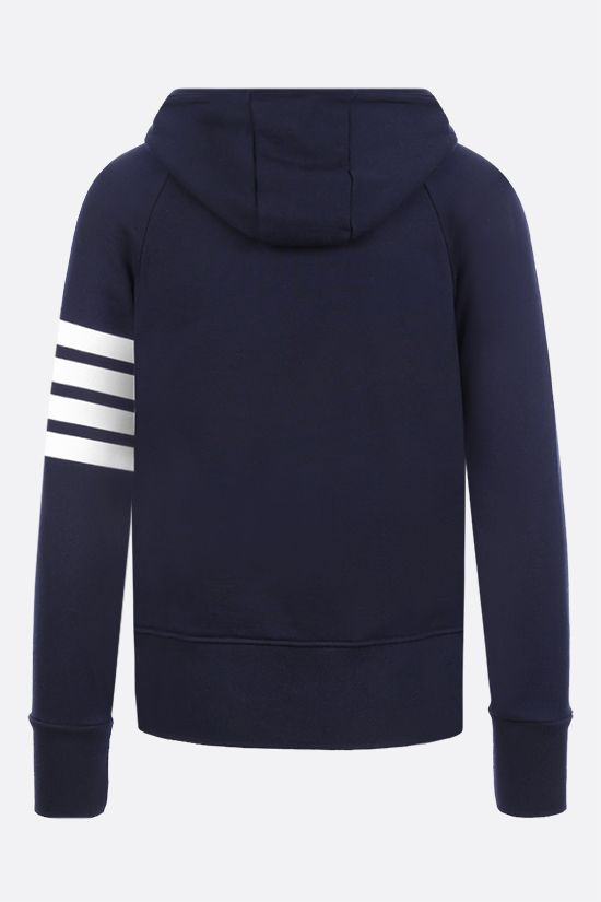 THOM BROWNE: 4-bar-detailed cotton full-zip hoodie Color Blue_2