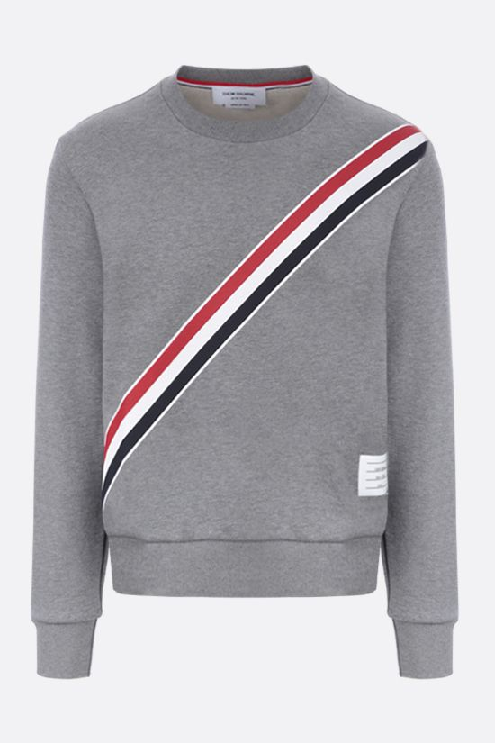 THOM BROWNE: tricolour-detailed cotton sweatshirt Color Grey_1