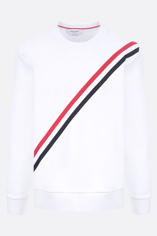 THOM BROWNE: tricolour-detailed cotton sweatshirt Color White_1