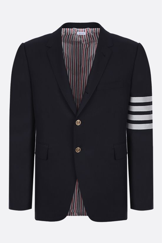 THOM BROWNE: 4-bar detailed single-breasted wool jacket Color Blue_1