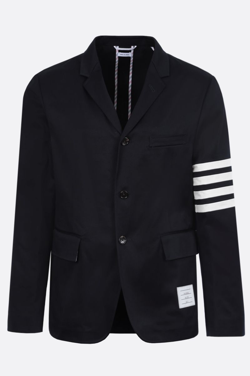 THOM BROWNE: 4-bar detailed cotton single-breasted jacket Color Blue_1