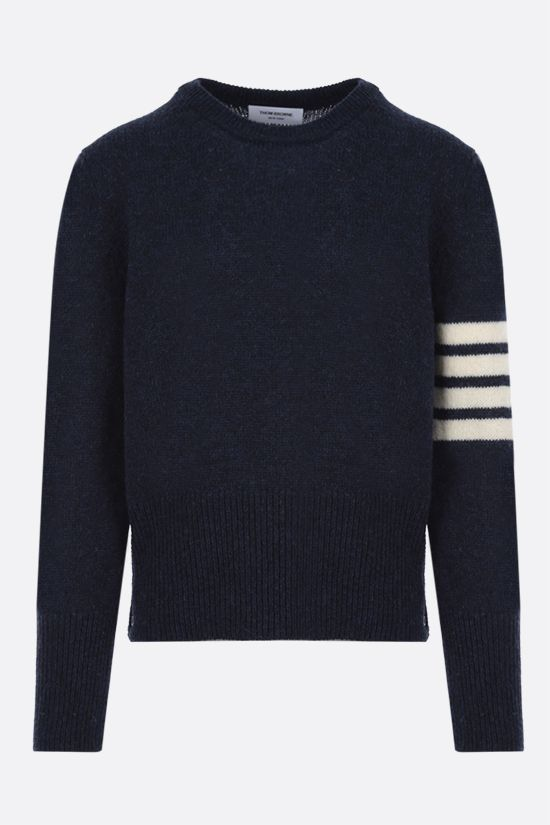 THOM BROWNE: 4-bar-detailed Shetland wool pullover Color Blue_1