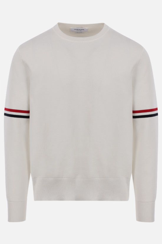 THOM BROWNE: tricolour bands-detailed cotton pullover Color White_1