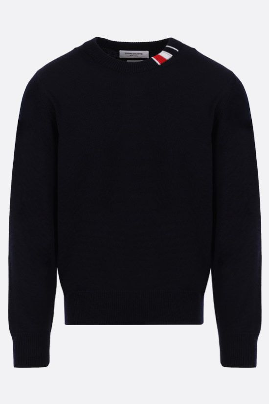 THOM BROWNE: tricolour-detailed merino wool pullover Color Blue_1