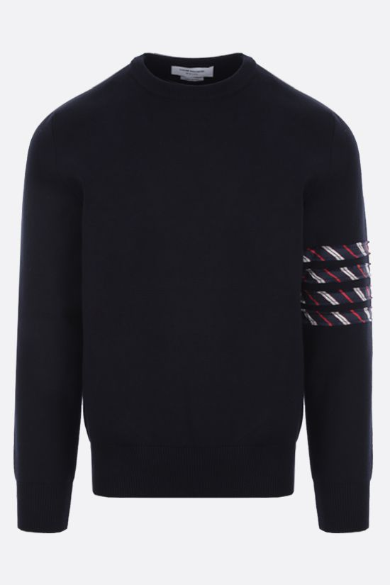 THOM BROWNE: 4-bar detailed cotton pullover Color Blue_1
