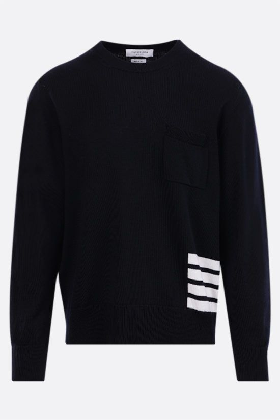 THOM BROWNE: 4-bar-detailed merino wool pullover Color Blue_1