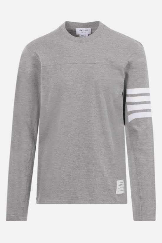 THOM BROWNE: 4-bar detailed cotton long-sleeved t-shirt Color Grey_1