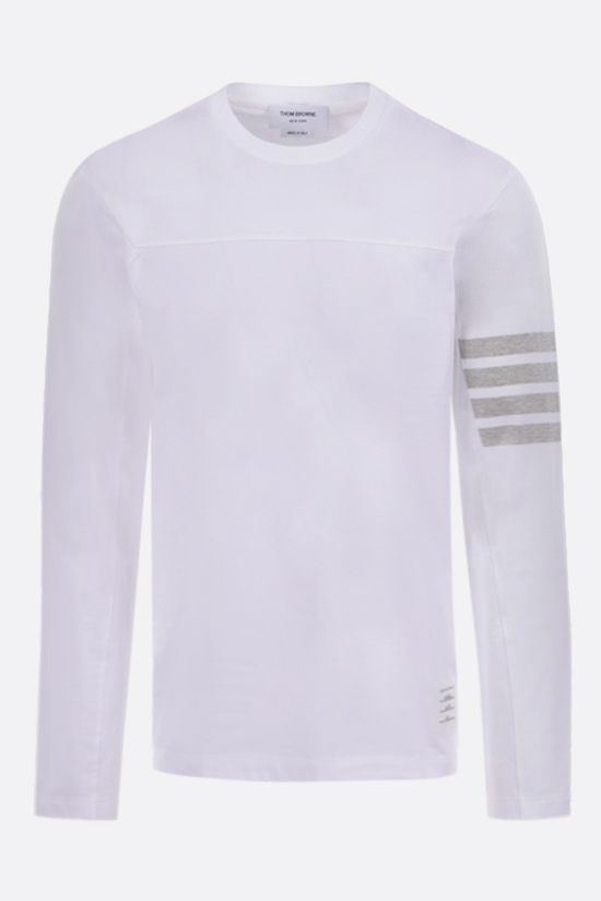 THOM BROWNE: 4-bar detailed cotton long-sleeved t-shirt Color White_1