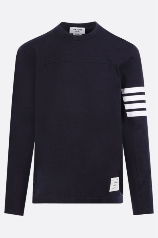 THOM BROWNE: 4-bar detailed cotton long-sleeved t-shirt Color Blue_1