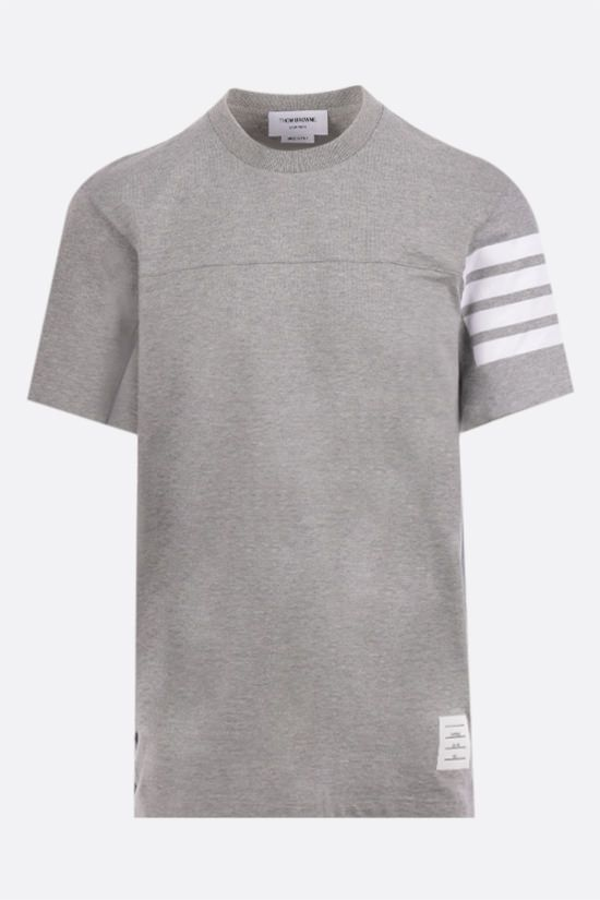 THOM BROWNE: 4-bar-detailed cotton t-shirt Color Grey_1