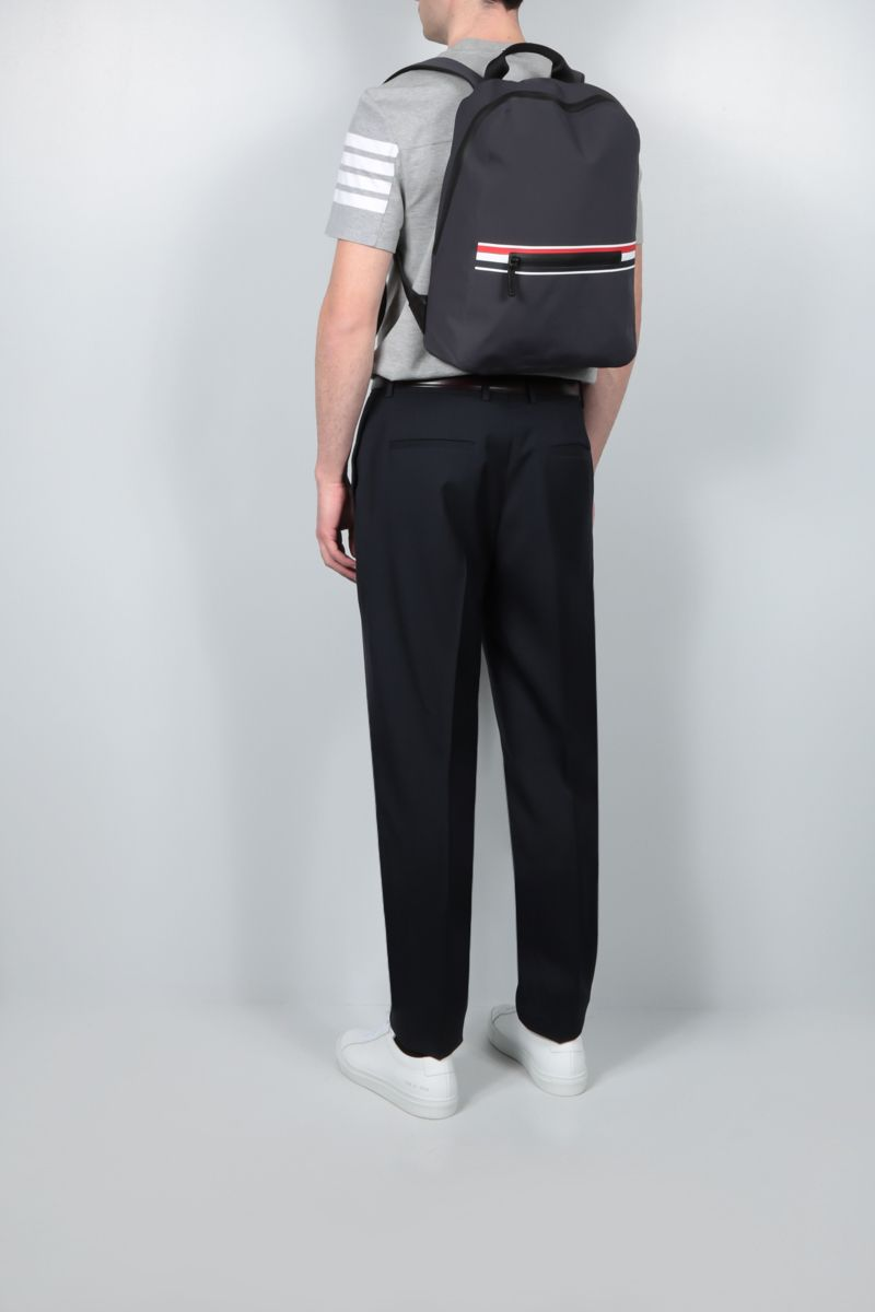 THOM BROWNE: tricolour-detailed waterproof nylon backpack Color Grey_2