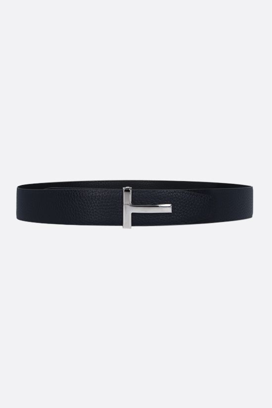 TOM FORD: T-Icon grainy leather reversible belt Color Black_1