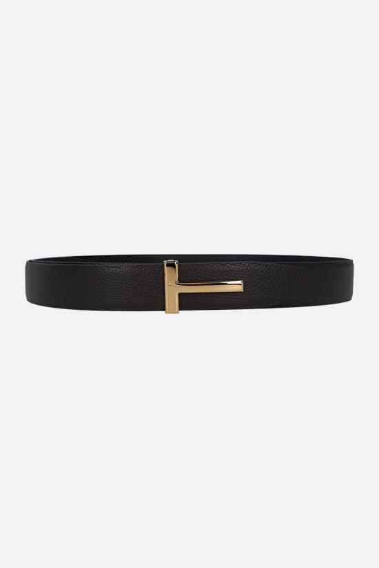 TOM FORD: T-Icon grainy leather reversible belt Color Brown_1