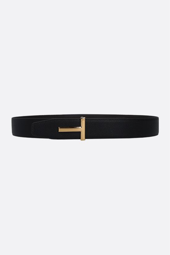 TOM FORD: T-Icon grainy leather reversible belt Color Brown_2