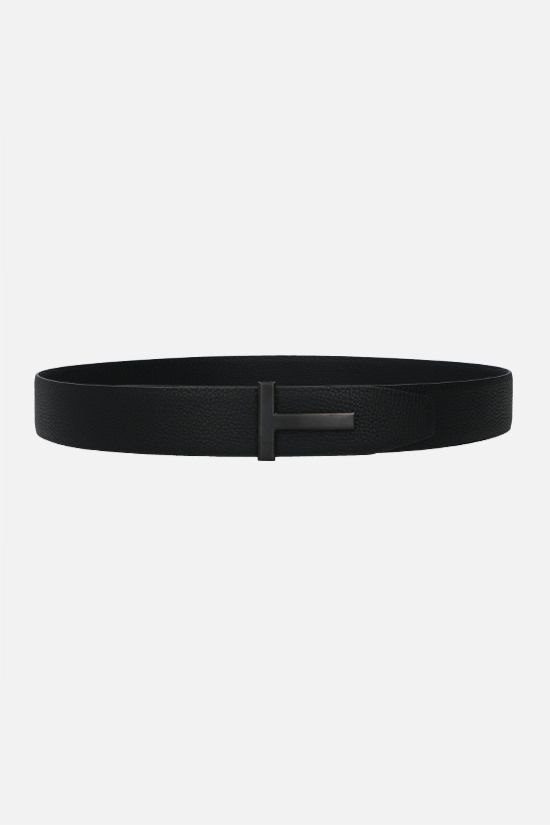 TOM FORD: T-Icon grainy leather belt Color Black_1