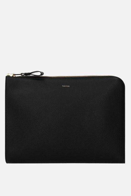TOM FORD: grainy leather document holder Color Black_1