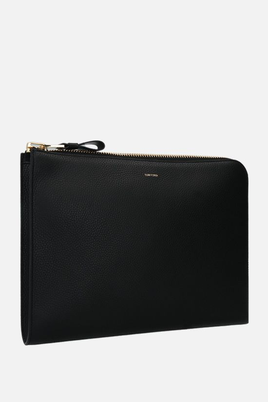 TOM FORD: grainy leather document holder Color Black_2