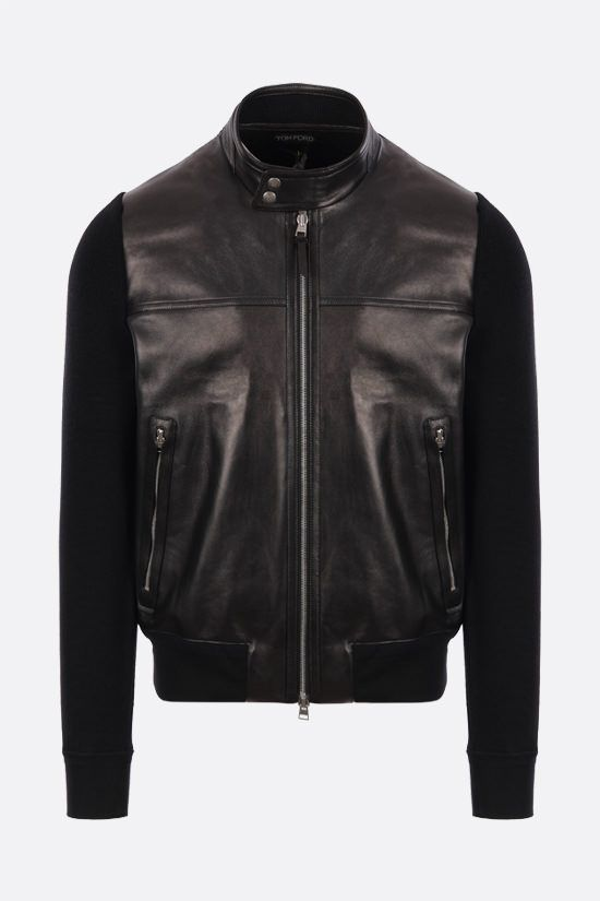TOM FORD: nappa and wool knit bomber jacket Color Black_1