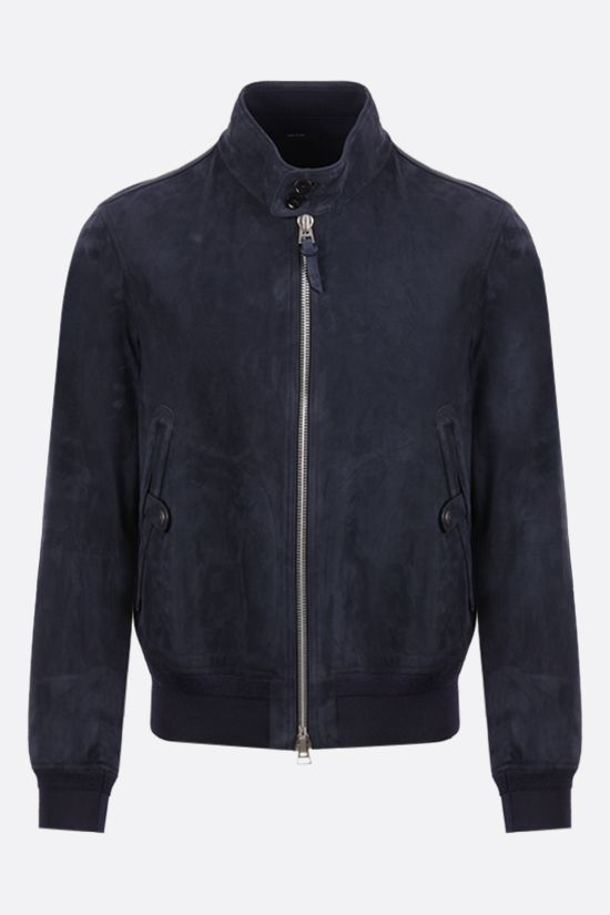TOM FORD: velvet suede bomber jacket Color Blue_1