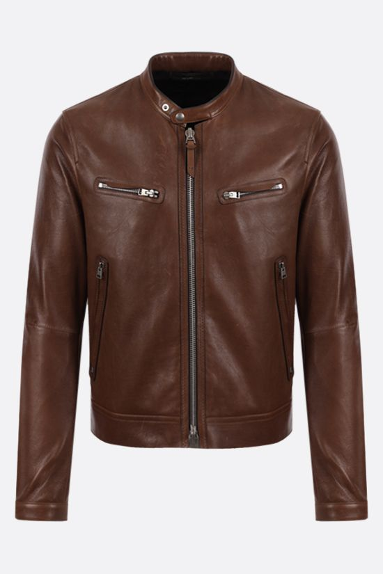 TOM FORD: soft leather biker jacket Color Brown_1