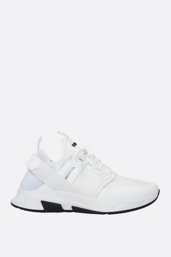 TOM FORD: Jago technical fabric and leather sneakers Color White_1