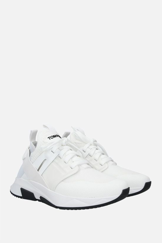 TOM FORD: Jago technical fabric and leather sneakers Color White_2
