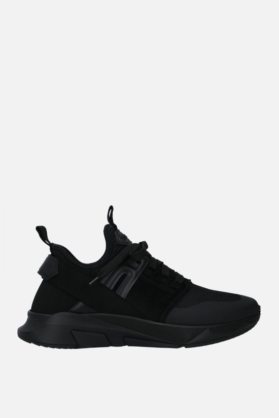 TOM FORD: Jago technical fabric and leather sneakers Color Black_1