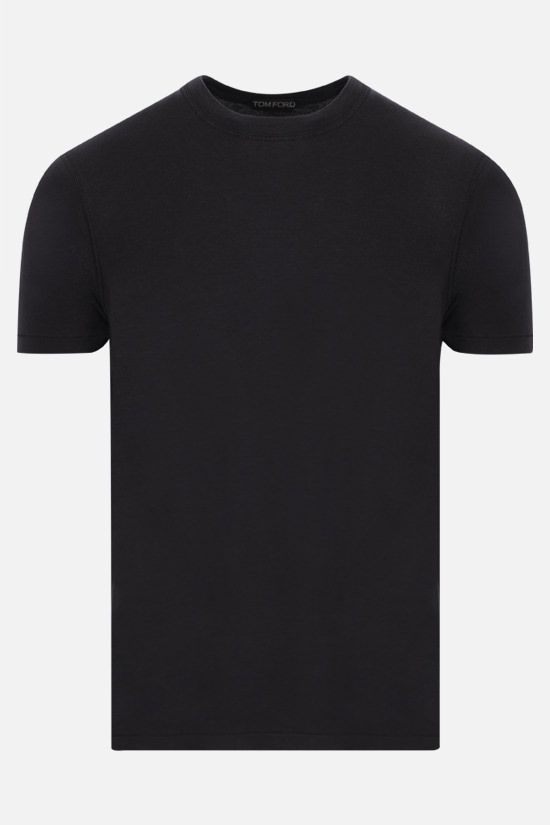 TOM FORD: TF embroidered cotton blend t-shirt Color Black_1
