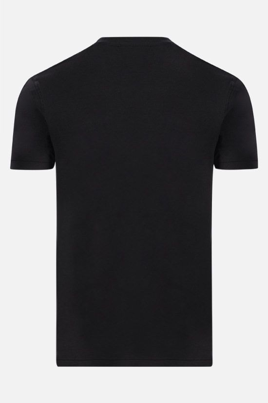 TOM FORD: TF embroidered cotton blend t-shirt Color Black_2