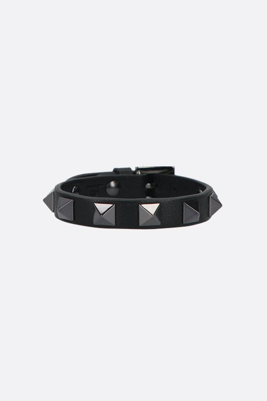 VALENTINO GARAVANI: Rockstud Noir smooth leather bracelet Color Black_1