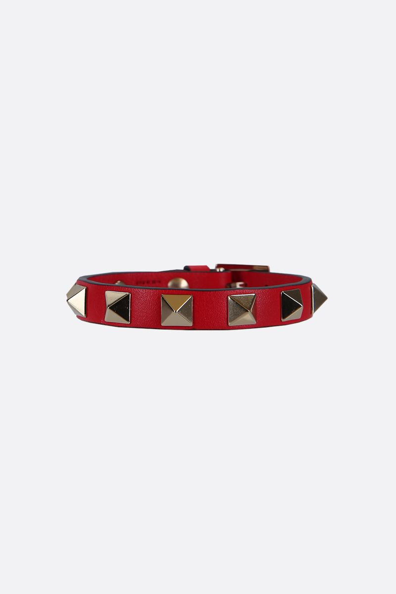 VALENTINO GARAVANI: Rockstud smooth leather bracelet Color Red_1