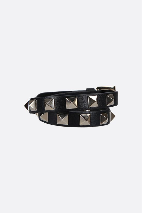 VALENTINO GARAVANI: Rockstud smooth leather double-wrap bracelet Color Black_1