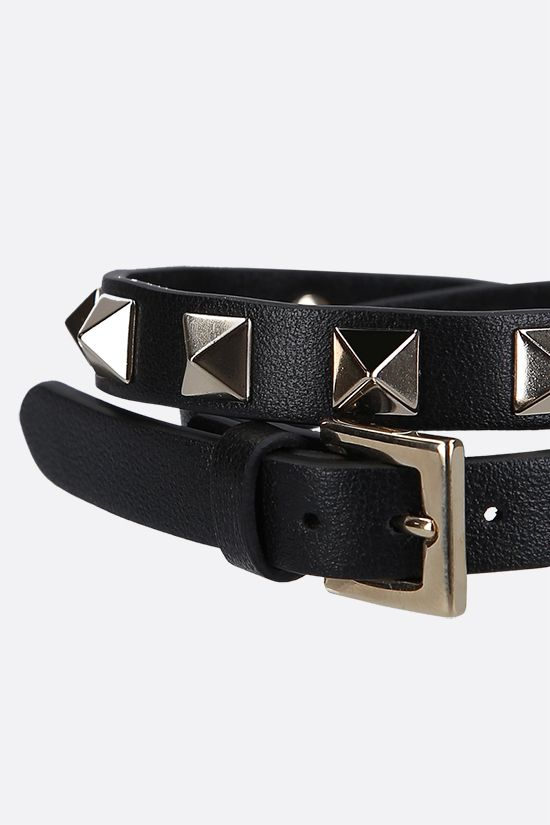 VALENTINO GARAVANI: Rockstud smooth leather double-wrap bracelet Color Black_2