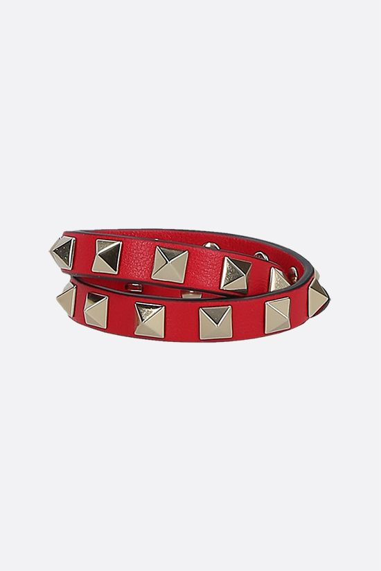 VALENTINO GARAVANI: Rockstud smooth leather double-wrap bracelet Color Red_1