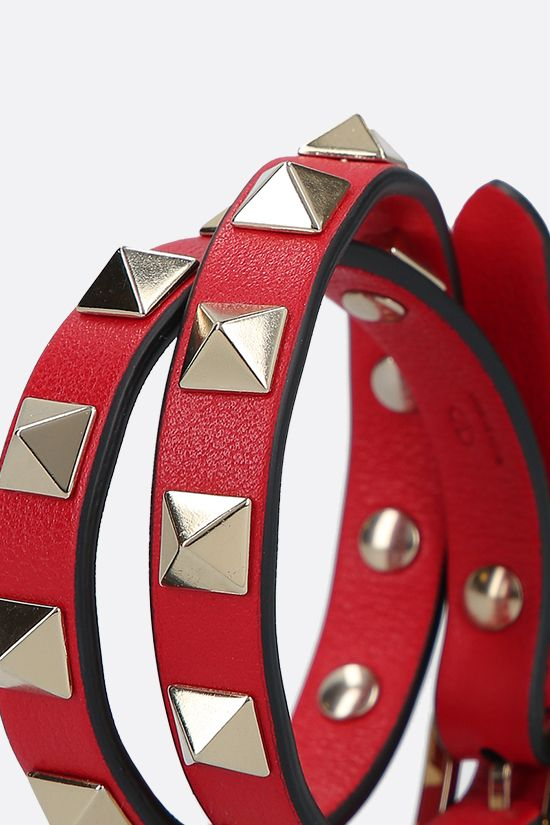 VALENTINO GARAVANI: Rockstud smooth leather double-wrap bracelet Color Red_2