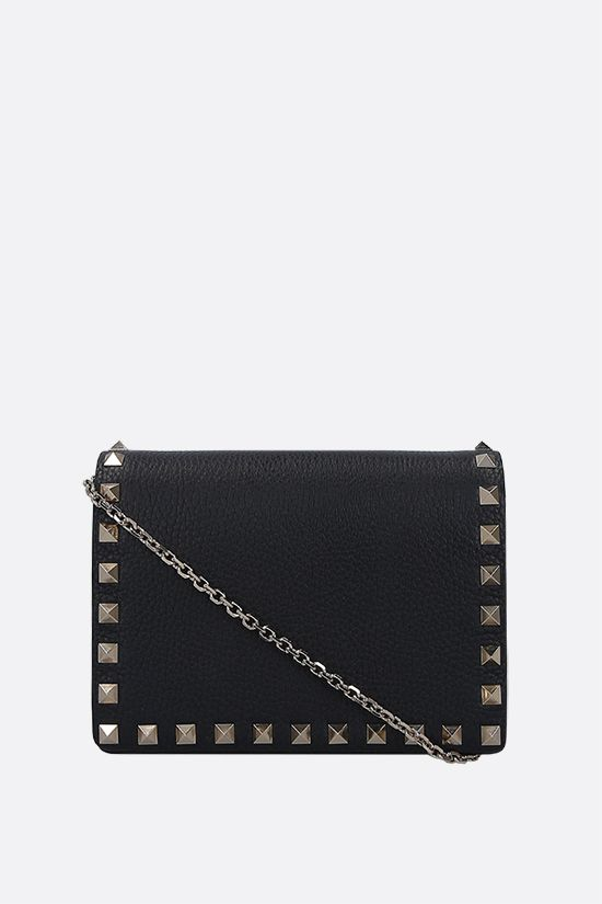 VALENTINO GARAVANI: Rockstud grainy leather chain clutch Color Black_1