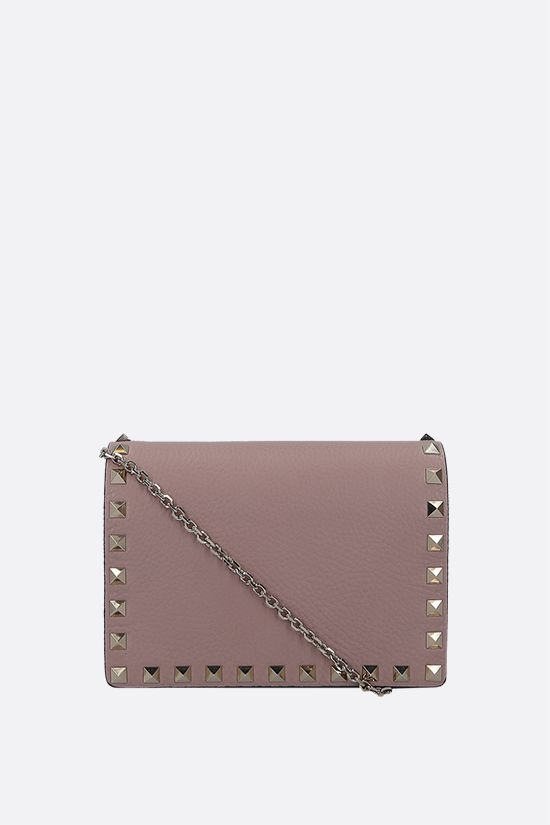 VALENTINO GARAVANI: Rockstud grained leather chain clutch Color Neutral_1