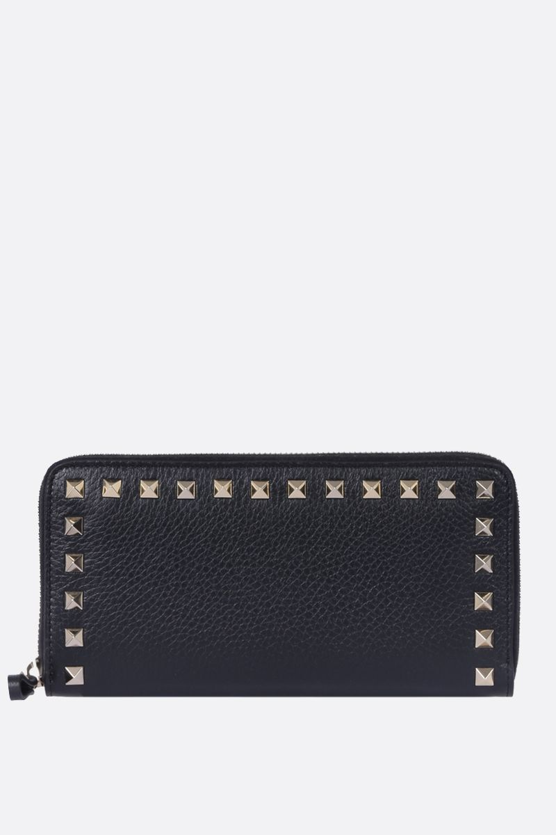 VALENTINO GARAVANI: Rockstud grainy leather zip-around wallet Color Black_1