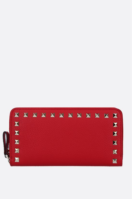 VALENTINO GARAVANI: Rockstud grainy leather zip-around wallet Color Red_1