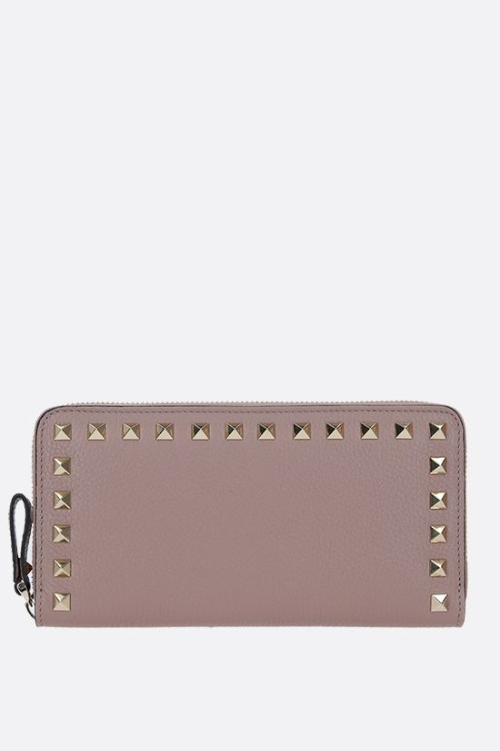 VALENTINO GARAVANI: Rockstud moose grainy leather zip-around wallet Color Neutral_1