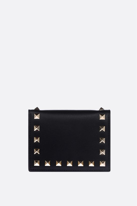 VALENTINO GARAVANI: Rockstud smooth leather flap wallet Color Black_1