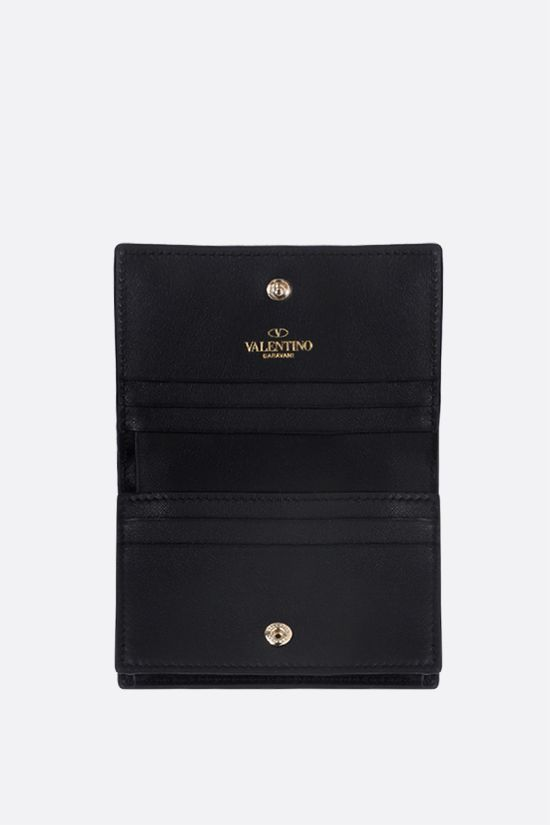 VALENTINO GARAVANI: Rockstud smooth leather flap wallet Color Black_2