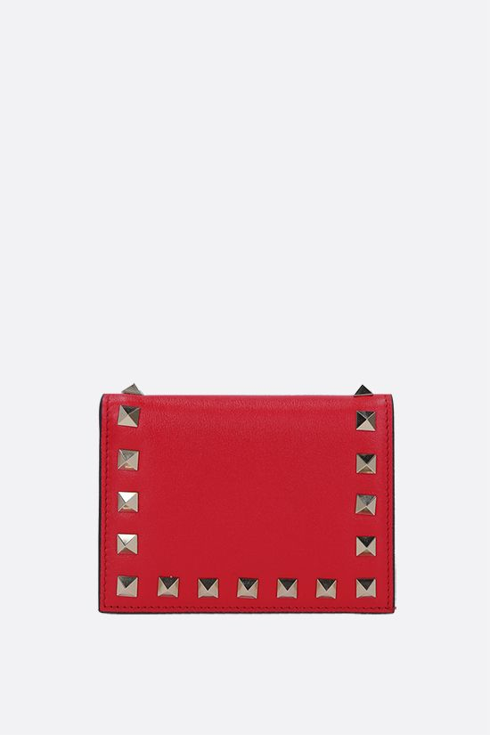 VALENTINO GARAVANI: Rockstud smooth leather flap wallet Color Red_1