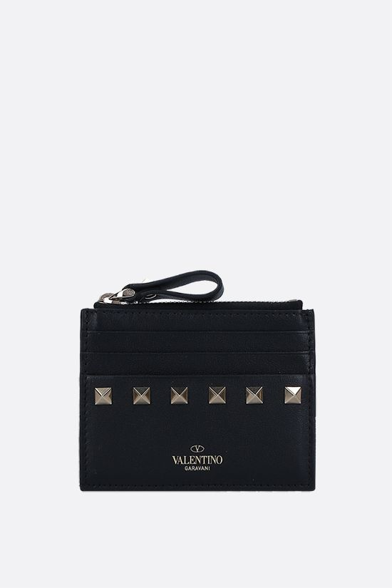 VALENTINO GARAVANI: Rockstud smooth leather card case Color Black_1