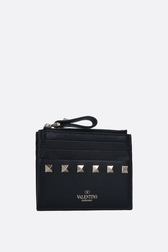 VALENTINO GARAVANI: Rockstud smooth leather card case Color Black_2