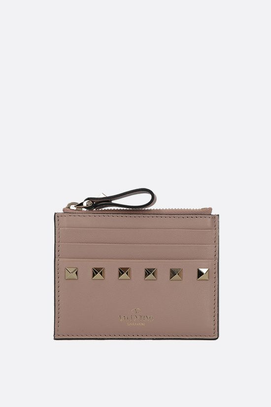 VALENTINO GARAVANI: Rockstud smooth leather card case Color Neutral_1